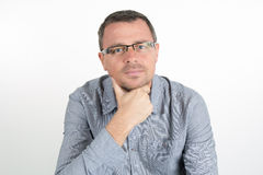 Man with glasses and unshaven Royalty Free Stock Photos