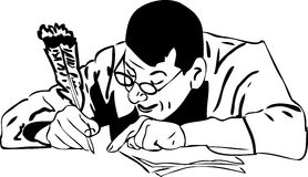 The man in glasses writes a quill pen Royalty Free Stock Image