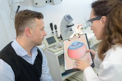 Man with glaucoma consulting ophtalmologist for examination royalty free stock photos