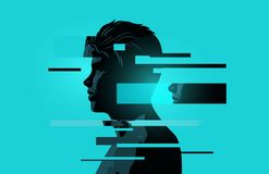 A Man With Glitch Fragments vector illustration