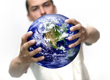 Man with globe. Man holding globe in his hands Stock Photos