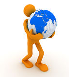 Man with globe. Royalty Free Stock Image