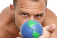 Man and Globe Royalty Free Stock Photography