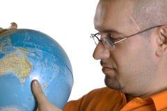 Man with globe Stock Photos