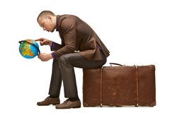 Man with globe Stock Photos