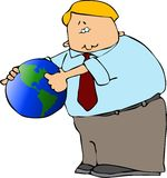 Man With A Globe Royalty Free Stock Photo