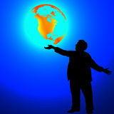 Man with globe. Man holding a glowing globe stock illustration