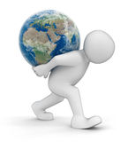Man and Globe (clipping path included) vector illustration
