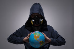 Man with a globe Stock Photo
