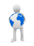 Man and globe on white background. 3D image Stock Photos