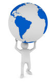 Man and globe on white background. 3D image Royalty Free Stock Images