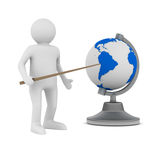 Man and globe on white background Stock Image
