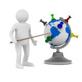 Man and globe on white background Royalty Free Stock Images