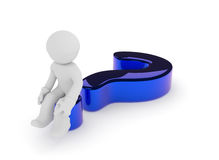 Man on a glossy blue question mark, 3d render. Small character sitting on a glossy blue question mark on a white background, 3d render Stock Images