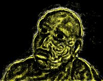 Man glowing in dark. Black and yellow illiustration of man glowing in the dark Stock Photo