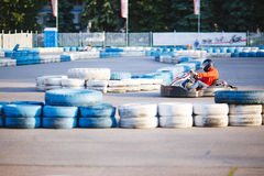 Man go carting on speedway Stock Photo