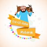 Man with Goat for Eid-Al-Adha Mubarak. Royalty Free Stock Photos