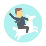 Man on goat. Stock Photo