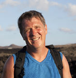 Man goes on a hike in Lanzarote, Spain Stock Photography