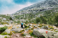 Man goes on mountain hiking trail in Norway. Path to natural attractions of Trolltunga or Troll`s tongue. Stock Photo