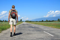 Man Goes On Road Stock Photography