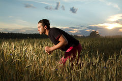 Man goes in for sports. stock images