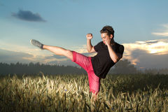 Man goes in for sports. Royalty Free Stock Images