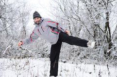 Man goes  for sports in winter outdoors Royalty Free Stock Photos