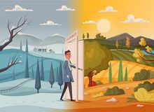 Man goes throught open door. Valley landscape. Cartoon vector illustration. Vintage poster. Welcome to summer. stock illustration