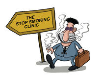 A man goes to a smoking clinic Stock Photos