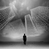 Man goes under dark sky with wire frame structures. Man goes under dark cloudy sky with abstract wire frame structures, black and white collage photo mixed with Royalty Free Stock Images