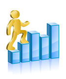 Man goes up. Human walking up on diagram. Vector Illustration Stock Image