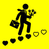 Man goes up the stairs of hearts. Symbol of man goes up the stairs of hearts Royalty Free Stock Photos