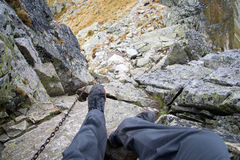Man going down from Ostry Rohac peak Stock Photos