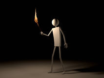 Man Going With Flaming  Torch in The Dark Royalty Free Stock Images