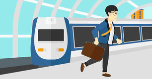 Man going out of train. Royalty Free Stock Photography