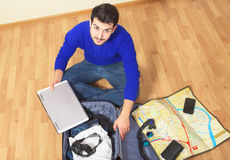 Man going on sea vacation Stock Photography
