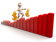 Man going to step schedule. Balance of dollar and. Euro. 3d Stock Photography