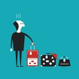 Man going to travel vector concept in flat cartoon style Royalty Free Stock Photography