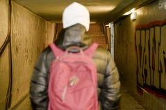Man going in underpass. Graffiti in subway. Man going in underpass. Graffiti in subway Royalty Free Stock Photos