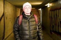 Man going in underpass. Graffiti in subway. Man going in underpass. Graffiti in subway Royalty Free Stock Photo