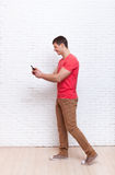 Man Going Using Cell Phone Smartphone Social Network Communication Royalty Free Stock Images
