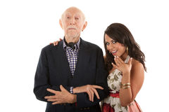 Man with gold-digger companion or wife royalty free stock photos