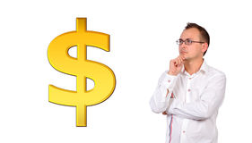 Man and gold dollar Stock Photography