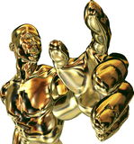 Man with Gold Hand reaching. Computer generated Golden man reaching out to grab with his hand Stock Illustration