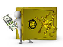 Man and gold safe. Man holding a wad of bills near the gold safe Stock Images