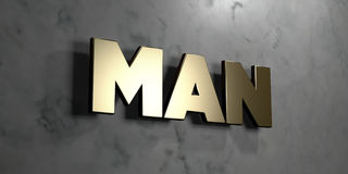 Man - Gold sign mounted on glossy marble wall  - 3D rendered royalty free stock illustration Stock Photo