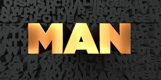 Man - Gold text on black background - 3D rendered royalty free stock picture Royalty Free Stock Image