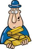 Man with goldbars. Cartoon  illustration of man with goldbars Royalty Free Stock Photo