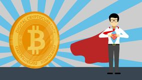 A man with golden bitcoin